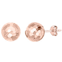 14Kt Gold 7mm Hammered Finish Ball Stud Earrings