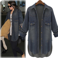 Dark Denim Cuff-Sleeve Asymmetrical Jacket