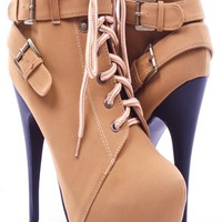 CAMEL TIMBERLAND STYLE HIGH HEEL BOOTIE