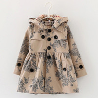 Designer children's Girls clothes autumn/winter girls trench coat jacket  Hat floral hoodies children  jacket coat