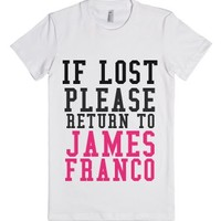 If Lost Please Return To James-Female White T-Shirt