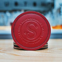 Double-Sided Hand Stitched Leather Coasters: Set Of 4
