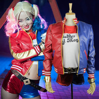 Suicide Squad Harley Quinn Costume High Quality PU Jacket Gradient t-shirt halloween costumes women 2016 Movie Cosplay suit girl
