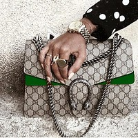 Hipgirls Gucci Fashion Trending Women Shopping Bag Shoulder Bag Crossbody Bag Contrast Bag Green