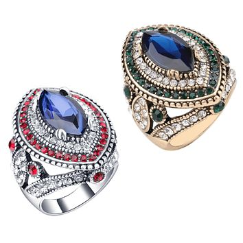 Esmeralda Oversize Sapphire Blue and Crystal Antique Style Cocktail Ring
