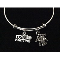 I Love Knitting with Sweater Silver Charm Bracelet Expandable Adjustable Wire Bangle Trendy Stacking Gift Inspired Handmade