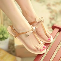 T-Straps-Bow-Flats-Sandals-Women-Shoes 4273
