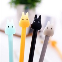 0.38mm Kawaii 3D jelly Totoro design black ink Gel pen Signature pen stationery office school stationery supplies