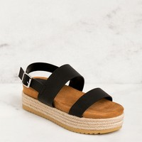 Sunny Daze Black Platform Sandals