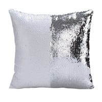 Hoomall Double Color Glitter Sequins Throw Pillow Case Cafe Home Decor Cushion Covers White Silver Color