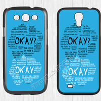 The Fault in Our Stars Samsung Galaxy S3 S4 S5 Case,OK OKAY Galaxy S3 S4 S5 Hard Rubber Case,cover skin Case for Galaxy S3 S4 S5