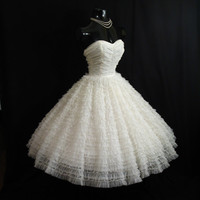 Vintage 1950's 50s Cupcake STRAPLESS White Tiered Chiffon Organza Lace Party Prom Wedding DRESS Gown
