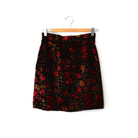 Velvet floral skirt / black / hot pink / gold / green / steampunk / vintage / 1980s / small / high waisted / button / Contempo mini skirt