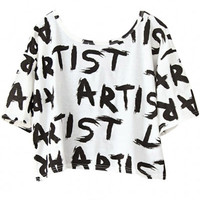 Artist Print Graphic Cropped Tee