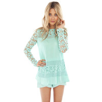 Light Blue Floral Pattern Long Sleeve Lace Chiffon BLouse
