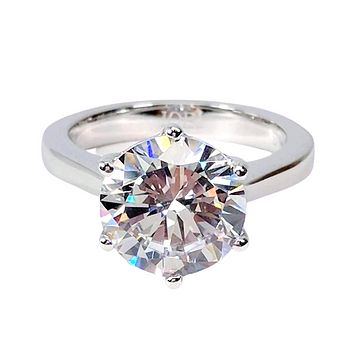 Victoria 14K White Gold 4CT Round Cut IOBI Simulated Diamond Solitaire Ring For Woman