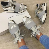 Balenciaga Fashion Race Runners Women Men Casual Shoes Silver