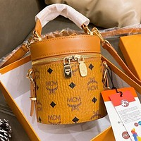 MCM Hot Sale New Women's Printed Letter Bucket Bag Three Piece Set