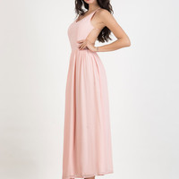 Pink V-neck Cross Backless Cami Maxi Chiffon Dress