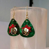 Guitar Pick Earrings at Betsy's Jewelry - Christmas Christmas Bells -Sleighbells - Holiday - Festive Jewelry