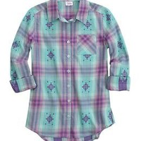 Aztec Printed Plaid Button Up Shirt | Girls Tops Clothes | Shop Justice