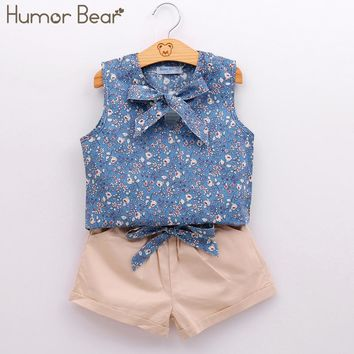 Humor Bear Summer Style Kids Clothes Fashion Flower T shirt + Pant Baby Suits Children Clothing Set Baby Girls Clothes