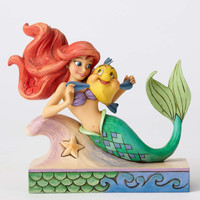 "Disney Jim Shore Traditions Ariel with Flounder ""Fun and Friends"" New Box"