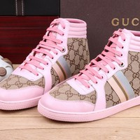 Gucci Women's GG Guccissima Leather Fashion Casual High Top Sneakers Shoes