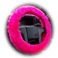 Barbie Pink steering wheel cover with matching rearview interior mirror cover Hot faux fur furry fuzzy fluffy car girly girl cerise cute