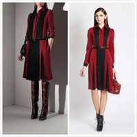 ONLY ONE,Vintage Style, Runway Inspired Burgundy Black long sleeve, Silk Feel, Fall party dress, work wear, super elegant & unique