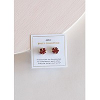 Red Druzy Prong Earrings