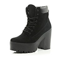 River Island Womens Black lace up platform worker boots