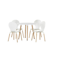 Stig Modern Dining Set White / White with Round Table