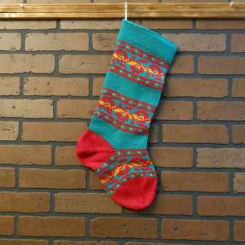 Traditional Christmas Stocking, Hand Knit in Green and Red Fair Isle Striped Design, Can Be Personalized, Housewarming Gift, Wedding Gift