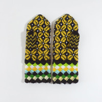 Hand Knitted Mittens - Brown and Yellow, Size Medium