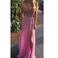 Long Prom Dresses Halter Strapless Sleeveless Sexy Backless Side Slit Floor Length paillette Dress