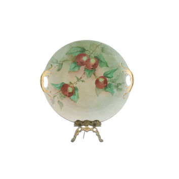 Antique German Plate 1800s Hand Painted Porcelain with Gold Encrusted Handles Cabinet Plate with Red Apples Green Leaves