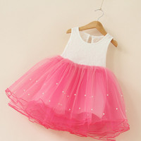 """The """"Taylor"""" Pearl and Lace Tutu Dress - Hot Pink"""