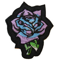Purple Blue Rose Garden Flower Plant of Love Embroidered Iron On Applique Patch