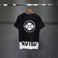 """Evisu"" Unisex Casual Classic Multicolor Letter Print Cherry Embroidery Couple Short Sleeve T-shirt Top Tee"