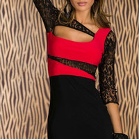 Black and Red Floral Sheer Lace Sleeve Cut-Out Bodycon Mini Dress
