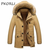 Pkorli Winter Jacket Men Slim Fit Trench Fur Collar Coat Mens Cotton Warm Long Male Casual Jacket Men'S Windbreaker Overcoat