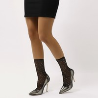 Vogue Diamante Fishnet Pointed Court Stilettos in Gold