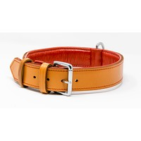 Riparo Genuine Leather Padded Dog Heavy Duty K-9 Adjustable Collar - Tan