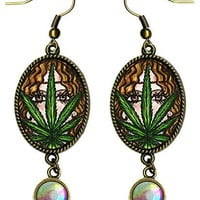 "Bohemian Marijuana Hemp Hippie Goddess Antique Bronze Gold Iridescent Rhinestone Long 2 1/2"" Dangling Earrings"