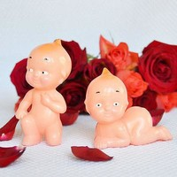 2 Vintage Style Kewpie Dolls Cake Topper, Baby Shower Topper Favor, Cupid Babies