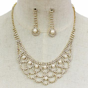 """12"""" pearl crystal choker necklace 1.50"""" earrings bridal prom"""