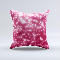 Glowing Unfocused Pink Circles Ink-Fuzed Decorative Throw Pillow