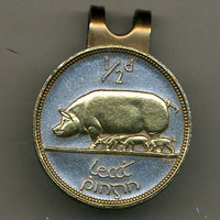 Gorgeous  2-Toned Gold on Silver Irish  Pig & Piglets - coin  - Golf Ball Marker - Hat Clips