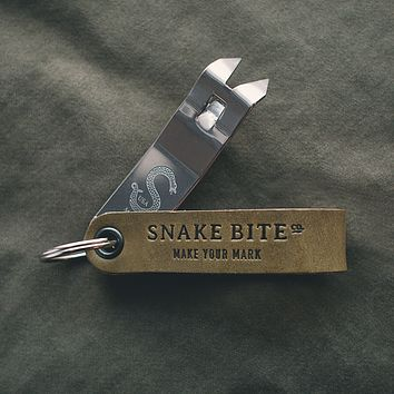 Snake Bite Keychain Bottle Opener - Field Green